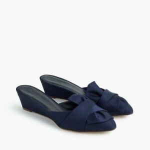 NEW Women's Blue Blanche Satin Mini-wedge Mules 8